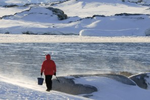 Man goes fishing in the middle of winter