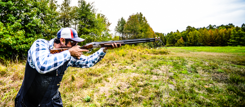 Anthony Matarese busting clays at the M&M Hunting Preserve and AIM shooting school in New Jersey