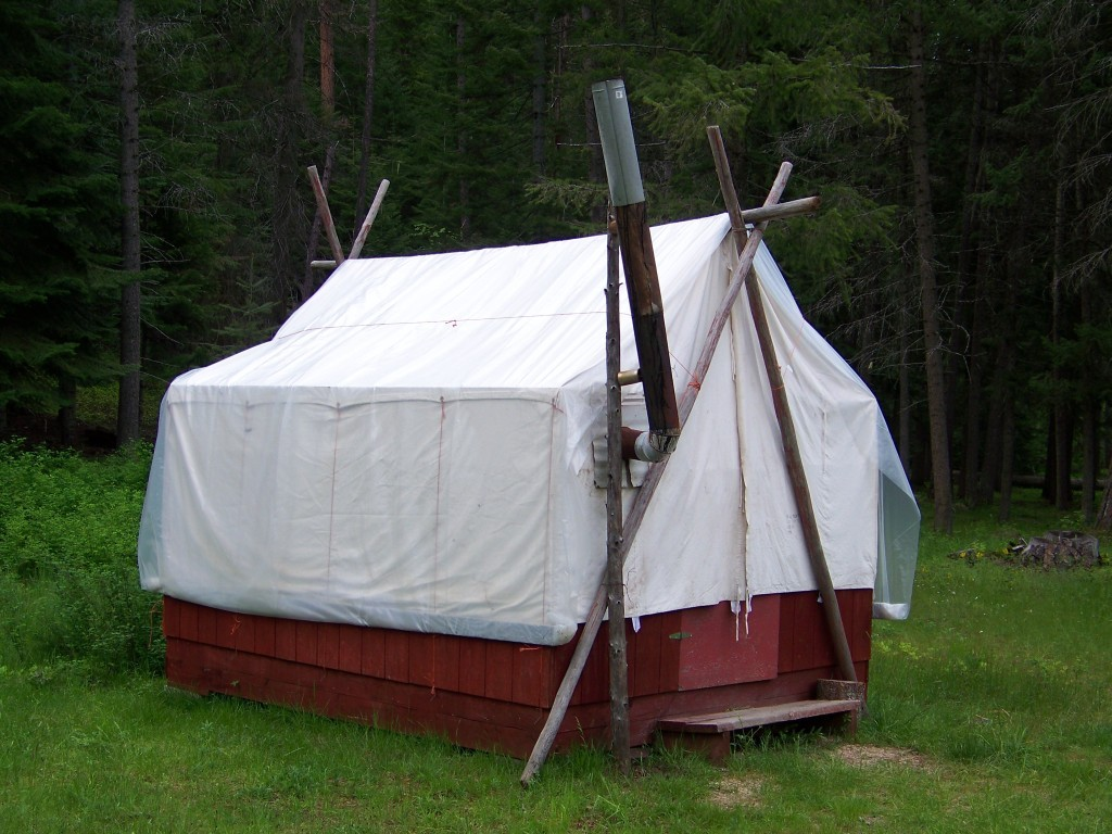 Cabin used by hunters in the Selway Bitterroot Wilderness to hunt Mountain Lion