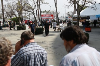 Anglers wait in line at the Fred Hall Show in Long Beach