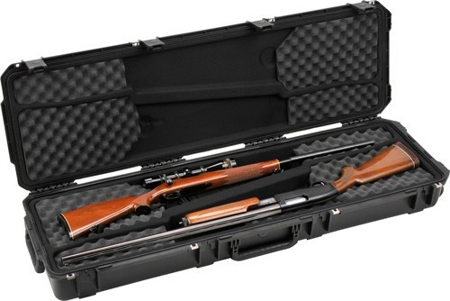 Double-Gun-Case with a hunting rifle and shotgun packed for airline travel