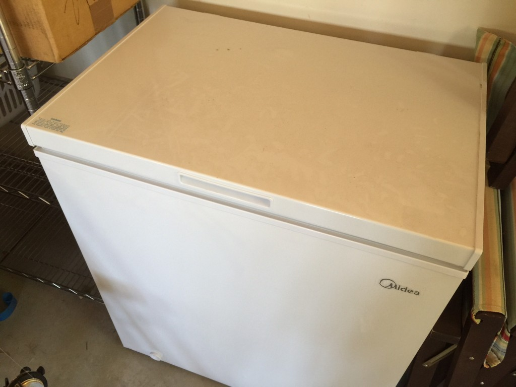 Subzero Chest Freezer in the garage for storing fish and game