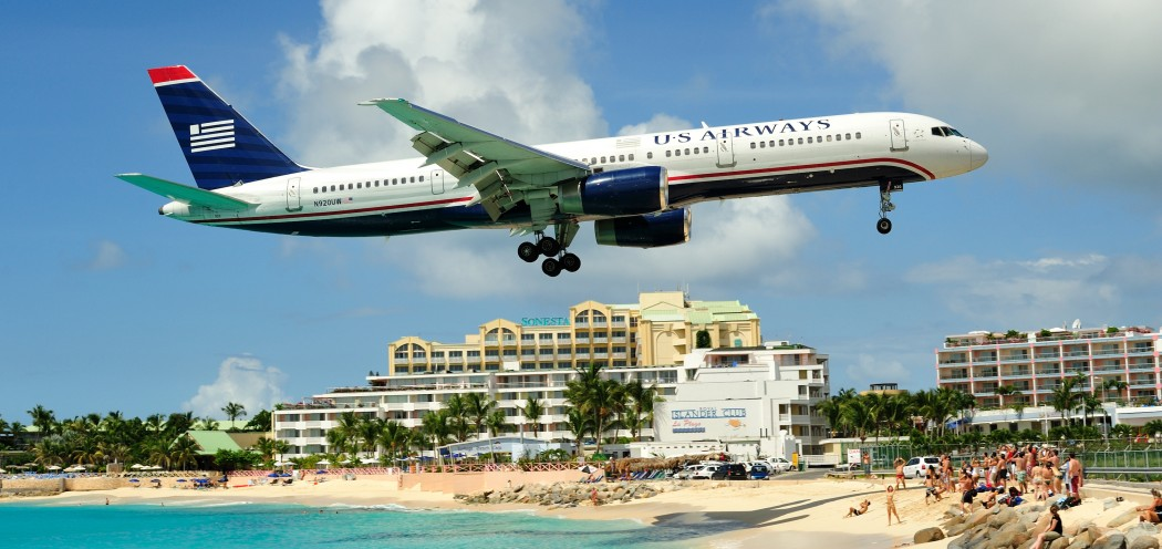Plane Landing in tropical destination where the passengers might do some fishing