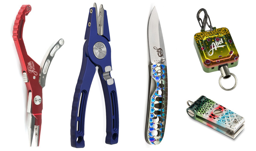 Abel fishing tools, Hybrid Hemostat, Pliers, Knife, Zinger, and Nipper from left to right.