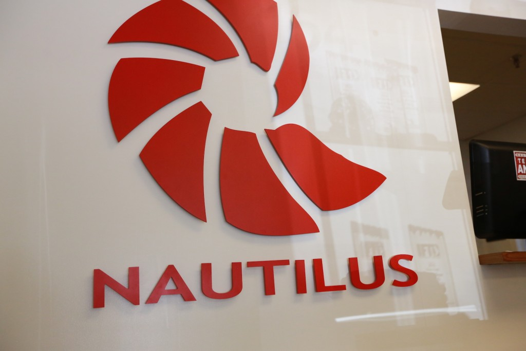 Nautilus reels logo at the nautilus reels factory in Miami Florida