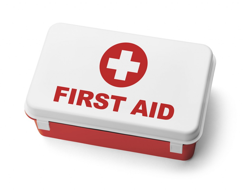 Red Plastic First Aid Kit Box
