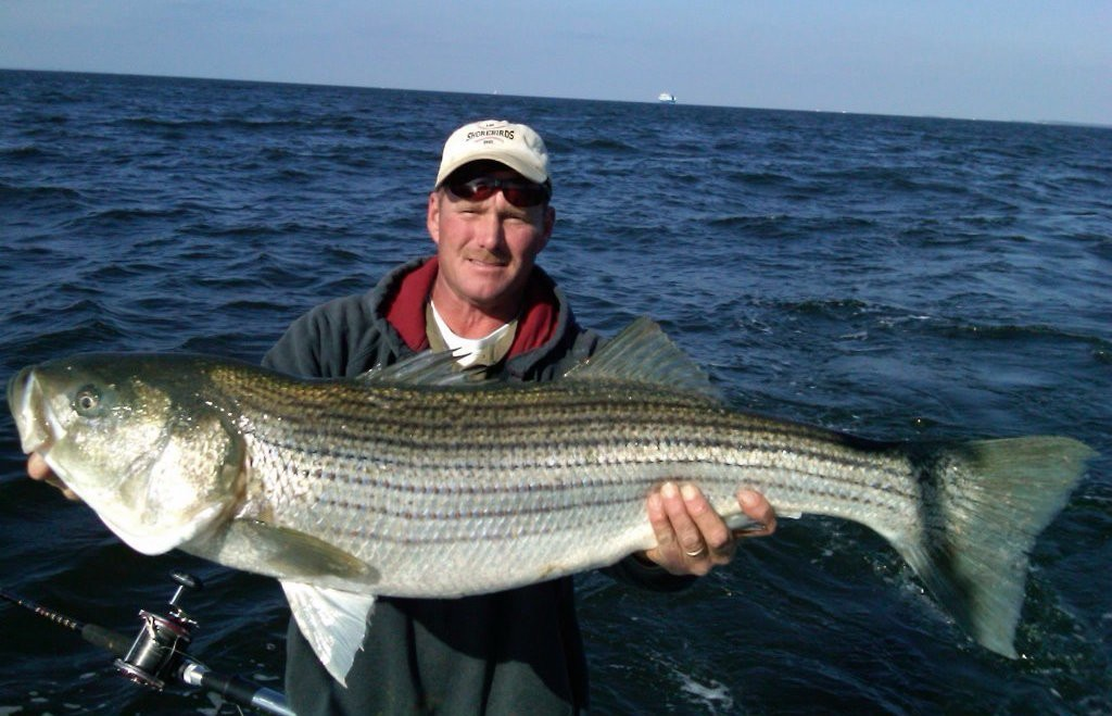 captain mark robbins with a large striped bass