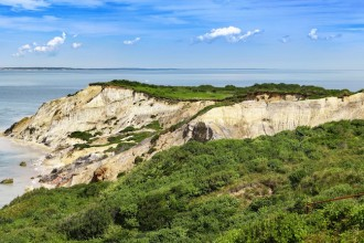 Panorama of a Gay Head lighthouse on a cliff in Aquinnah, Marthas Vineyard fishing