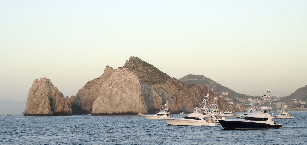 boats leaving in the morning to fish offshore in the los cabos billfish tournament