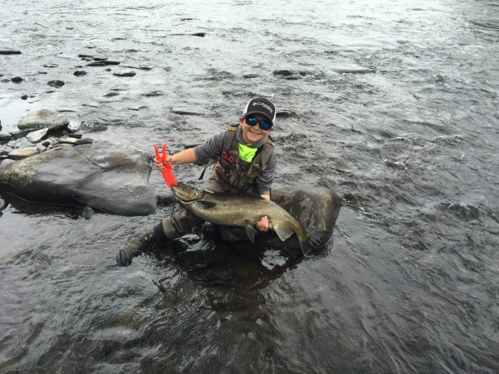 father and son fishing success