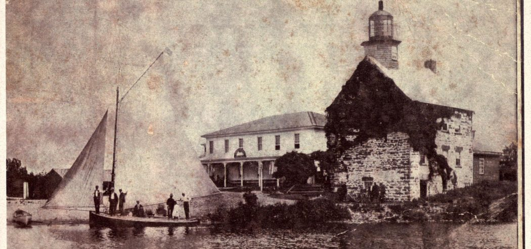 vintage look at the salmon river lighthouse and marina
