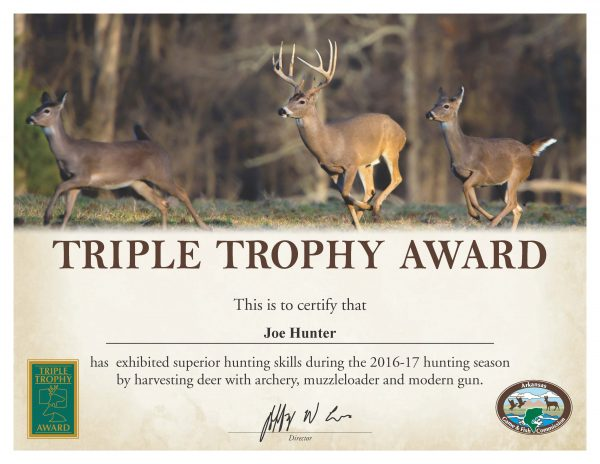 Triple Trophy Award Available to Arkansas Deer Hunters