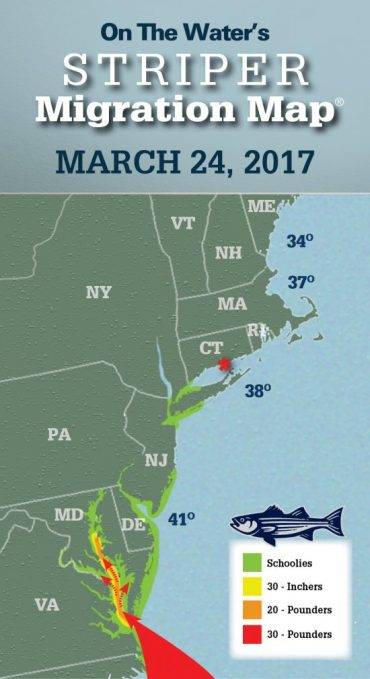 Striper Migration Map – March 24, 2017