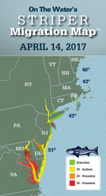 Striper Migration Map – April 14, 2017