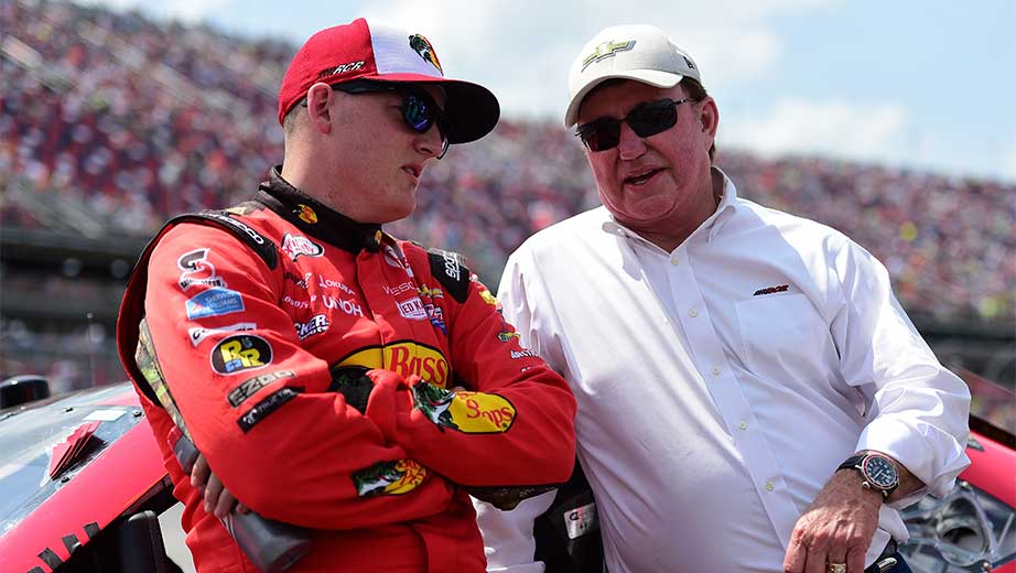 Ty Dillon talking with Richard Childress of RCR racing fame