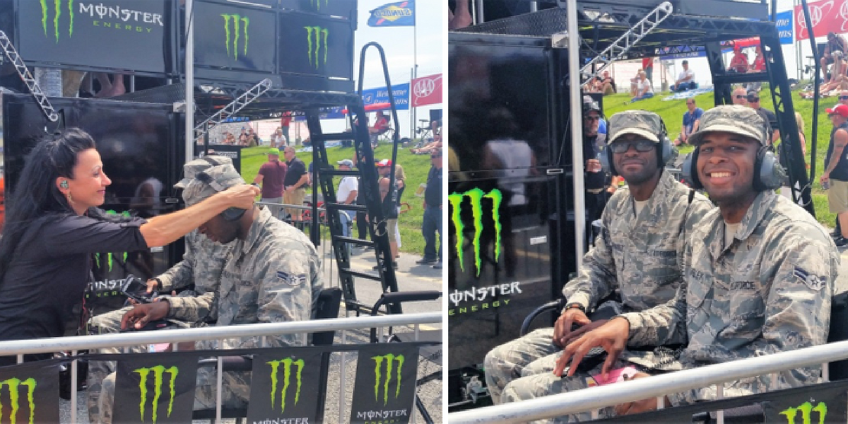 Two servicemen getting front row seats at the Monster Mile