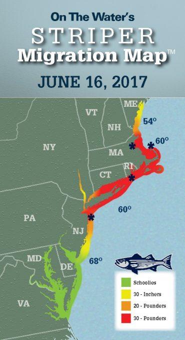 Striper Migration Map – June 16, 2017