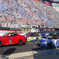 Cars ready to start the Bass Pro Shops NRA Night Race at Bristol